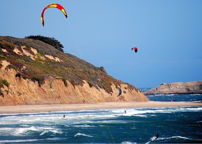Bob Wall Greeting Card featuring the photograph Kite Surfers by Bob Wall