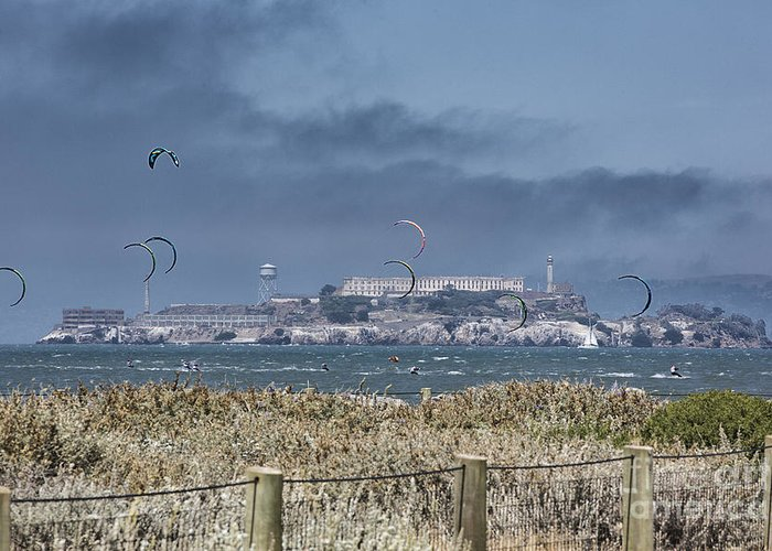 San Francisco Greeting Card featuring the photograph Kite Surfing Alcatraz by Chuck Kuhn