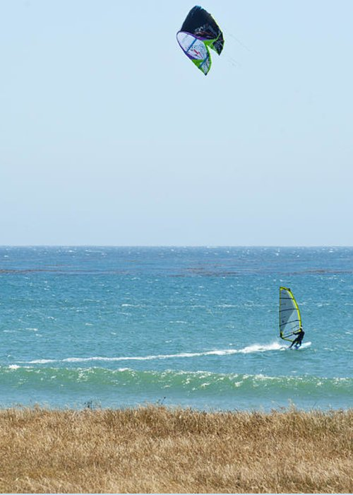 Point Lobos Greeting Card featuring the photograph Kite Surfing And Wind Surfing Central Coast San Simeon California by Artist and Photographer Laura Wrede