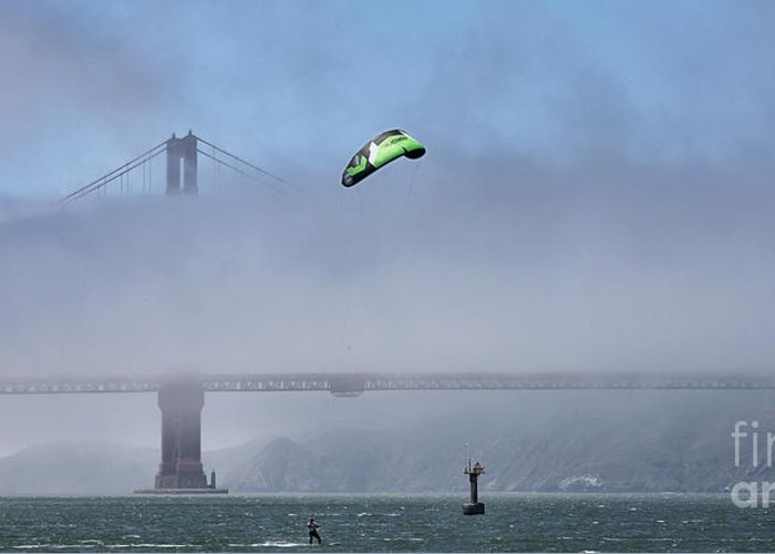 San Francisco Greeting Card featuring the photograph Kite Surfing Golden Gate by Chuck Kuhn