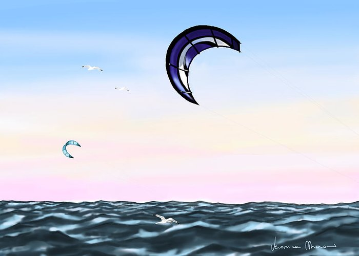 Kites Greeting Card featuring the painting Kite by Veronica Minozzi