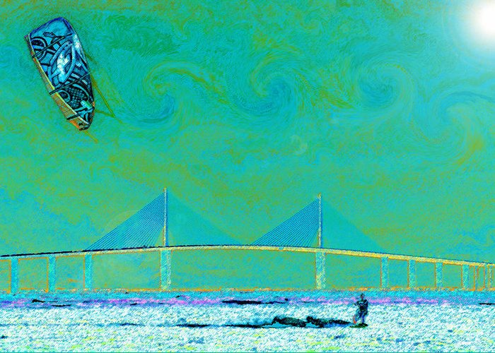 Art Greeting Card featuring the painting Kiteboarding The Bay by David Lee Thompson
