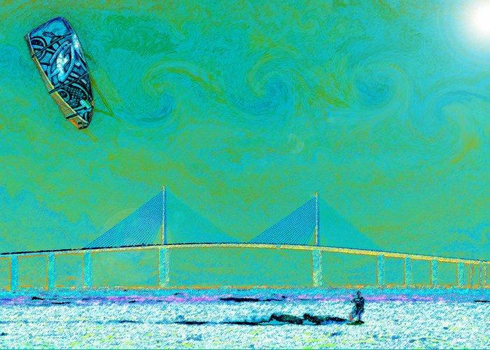 Kiteboarding Digital Art Greeting Cards