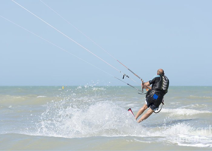 Kiteboarding Greeting Card featuring the photograph Kitesurfing by Mats Silvan
