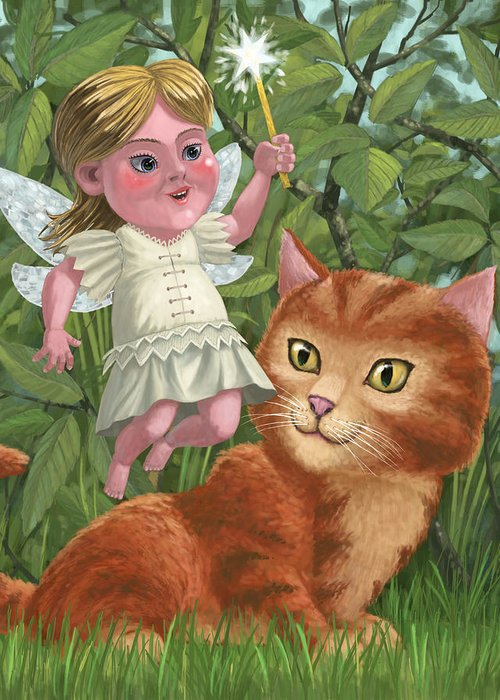 Girl Greeting Card featuring the painting Kitten With Girl Fairy In Garden by Martin Davey