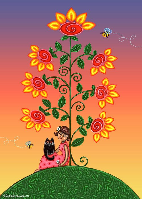 Folk Art Greeting Card featuring the painting Kitty And Bumblebees by Victoria De Almeida