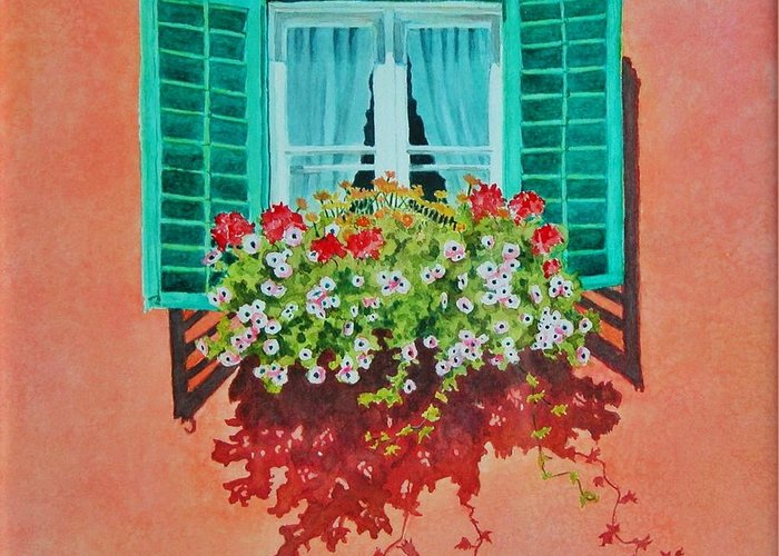 Window Box Greeting Card featuring the painting Kitzbuhel Window by Mary Ellen Mueller Legault