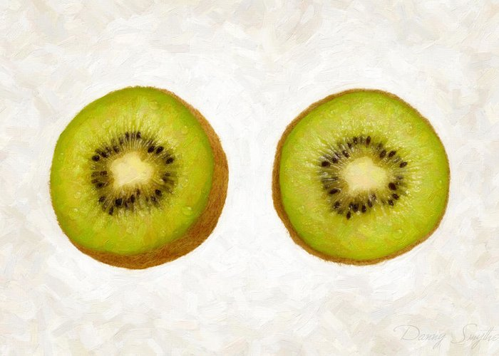 Kiwi Greeting Card featuring the painting Kiwi Slices by Danny Smythe
