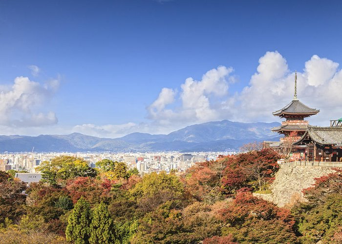 Autumn Greeting Card featuring the photograph Kiyomizu Dera Temple Kyoto Japan by Colin and Linda McKie