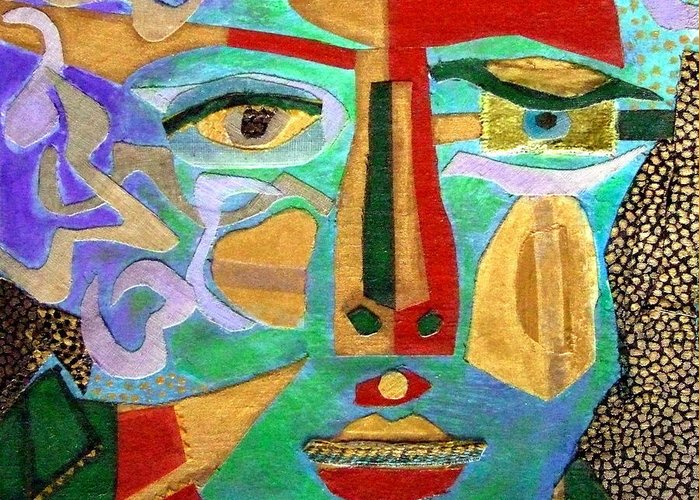 Mixed Media Portrait Greeting Card featuring the mixed media Klimt Face by Diane Fine