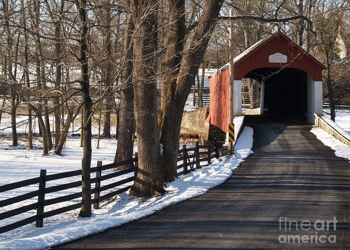 Bridge Greeting Card featuring the photograph Knecht's Bridge On Snowy Day - Bucks County by Anna Lisa Yoder