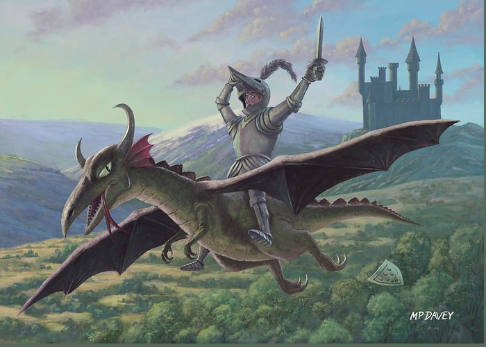 Knight Greeting Card featuring the painting Knight Riding On Flying Dragon by Martin Davey