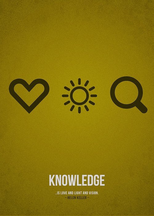 Knowledge; Education; Study; Learn; Learning; Graduation; School; University; College; Success; Work; Future; Development; Tuition; Skills; Methods; Empowers; Library; Training; Coaching; Course; Teachers; Students; Exams; Student Loan; Curriculum; Academic; Test; Experience; Assessments; Instructor; Slogan; Text; Words; Distress; Minimalist; Minimalistic; Quote; Falling; Loving Greeting Card featuring the drawing Knowledge by Aged Pixel