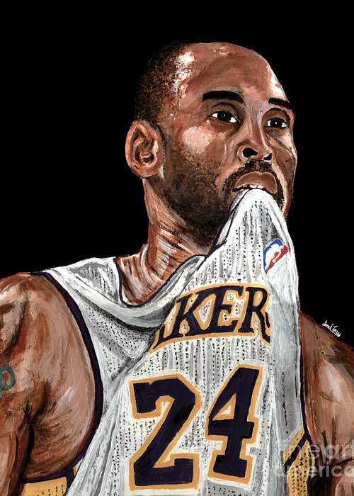 Koby Bryant Greeting Card featuring the painting Kobe Bryant Biting Jersey by Israel Torres