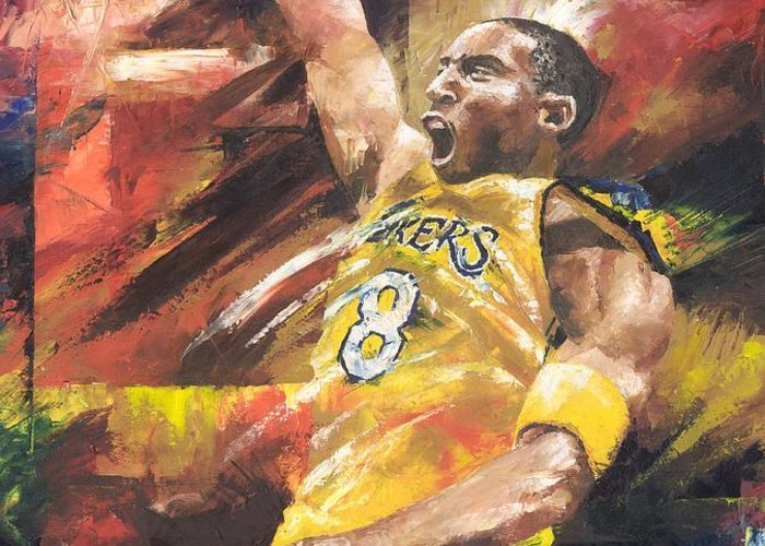 Sports Greeting Card featuring the painting Kobe Bryant by Christiaan Bekker