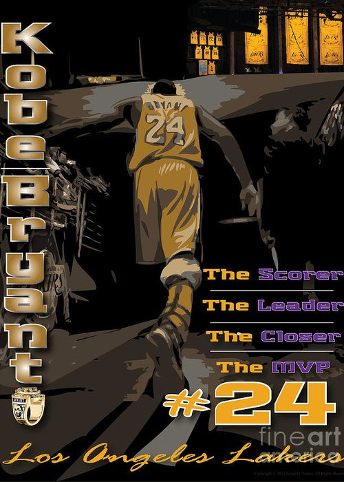 Kobe Bryant Greeting Card featuring the digital art Kobe Bryant Game Over by Israel Torres
