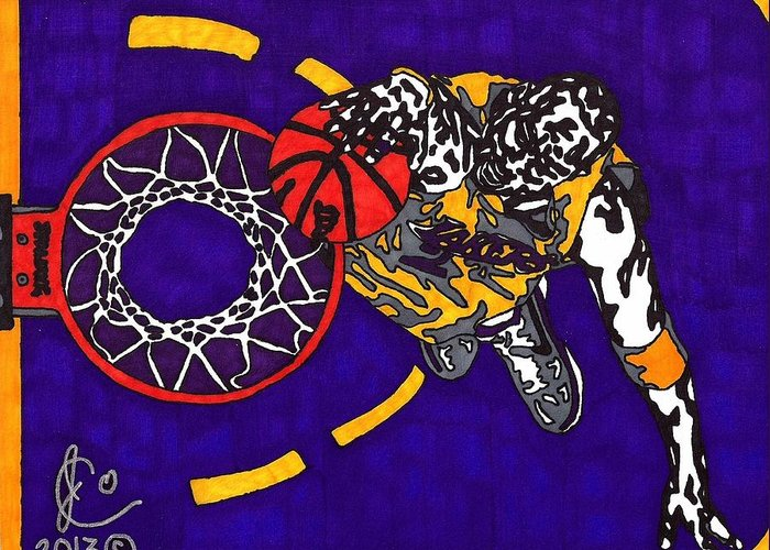 American Basketball Greeting Card featuring the drawing Kobe Bryant by Jeremiah Colley