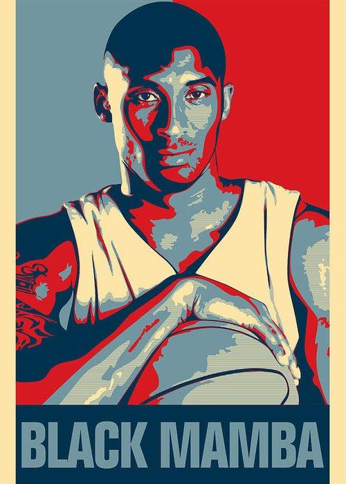 Kobe Bryant Greeting Card featuring the digital art Kobe Bryant by Taylan Apukovska