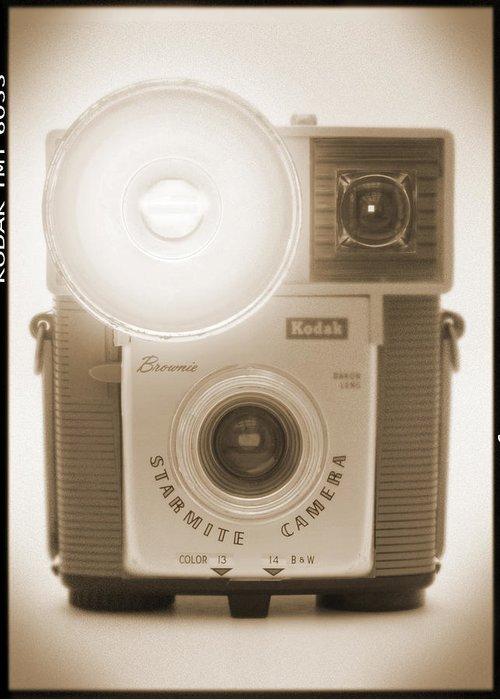 Vintage Kodak Brownie Greeting Card featuring the photograph Kodak Brownie Starmite Camera by Mike McGlothlen