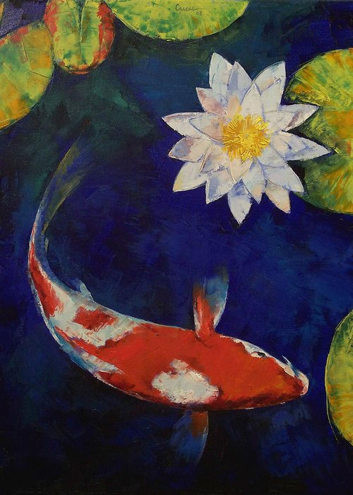 Kohaku Greeting Card featuring the painting Kohaku Koi And Water Lily by Michael Creese