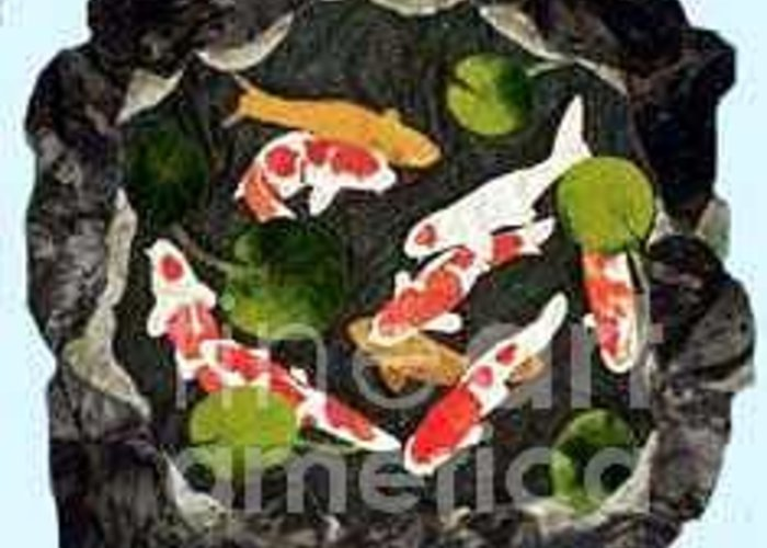 Fiber Greeting Card featuring the tapestry - textile Koi Fest by Jenny Williams
