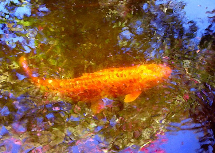 Animal Greeting Card featuring the painting Koi Fish 2 by Amy Vangsgard