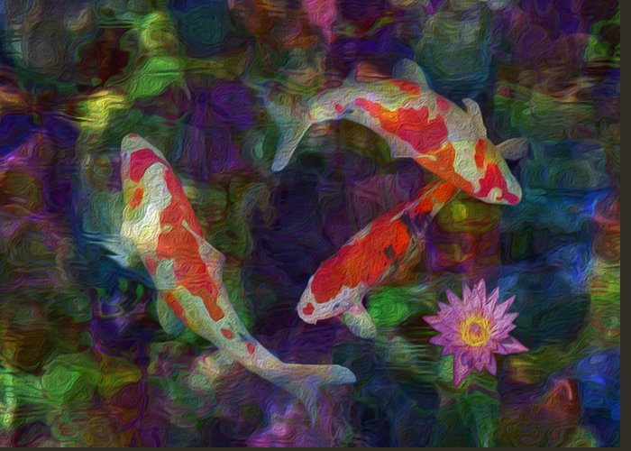 Koi Greeting Card featuring the painting Koi by Jack Zulli