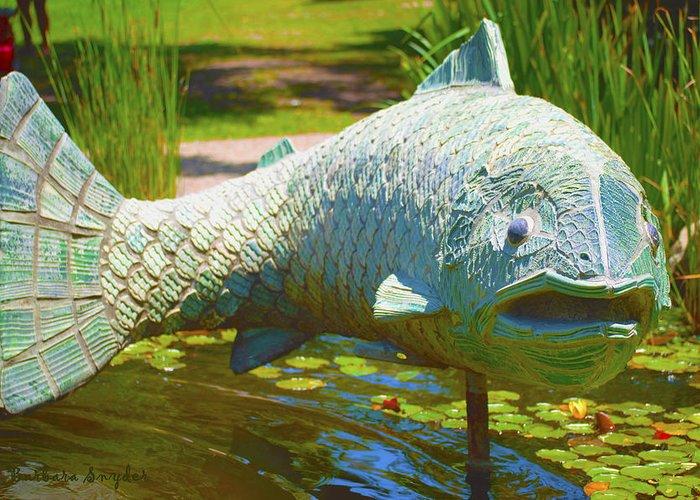 Coy Pond Fish Greeting Card featuring the digital art Koi Pond Fish Santa Barbara by Barbara Snyder