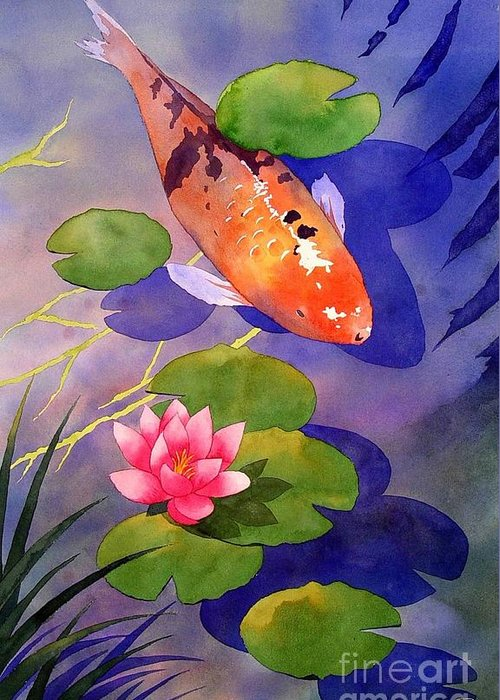 Watercolor Greeting Card featuring the painting Koi Pond by Robert Hooper