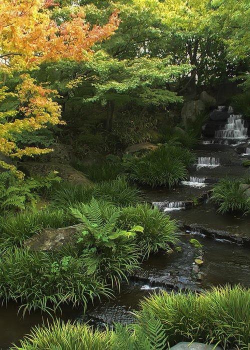 Japan Greeting Card featuring the photograph Kokoen Garden Waterfall - Himeji Japan by Daniel Hagerman