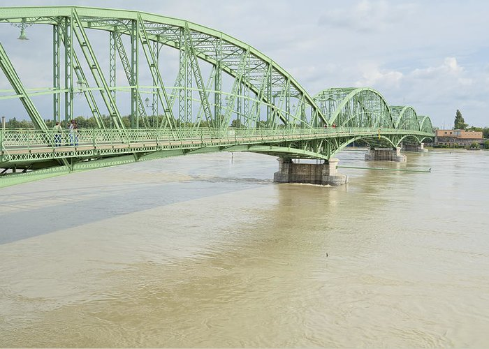 Bridge Greeting Card featuring the photograph Komarom Bridge Over Flooding Danube River by Ferenc Kosa