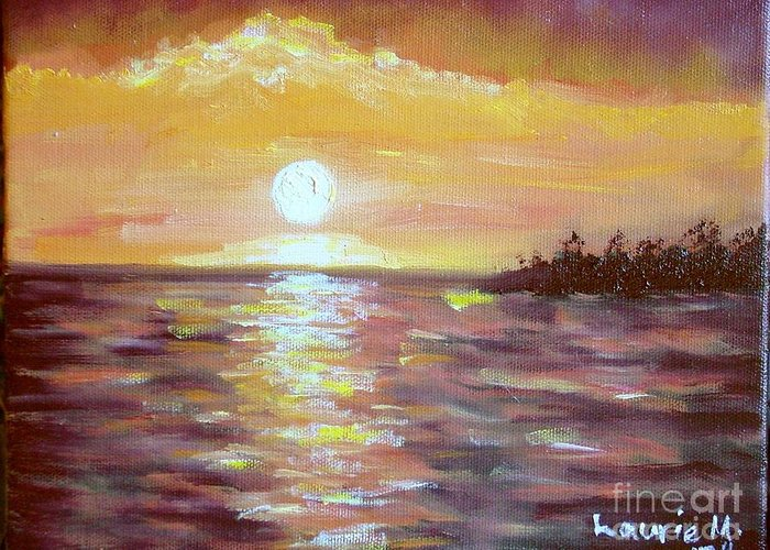 Sunset Greeting Card featuring the painting Kona Sunset by Laurie Morgan