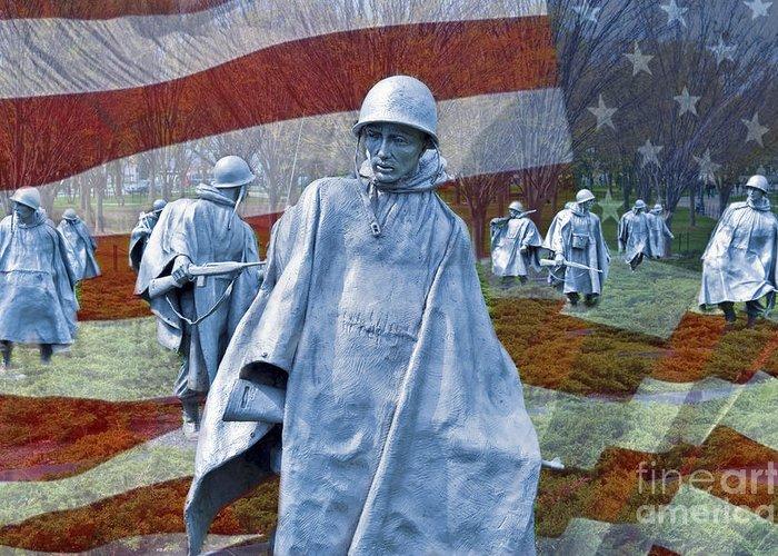 Korean War Veterans Memorial Bronze Sculpture American Flag Cgi Close Up Washington Dc Usa Greeting Card featuring the photograph Korean War Veterans Memorial Bronze Sculpture American Flag by David Zanzinger
