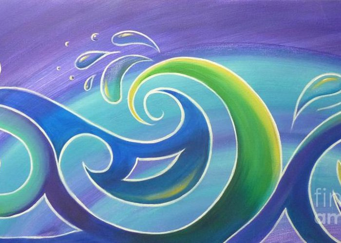Surf Greeting Card featuring the painting Koru Surf by Reina Cottier