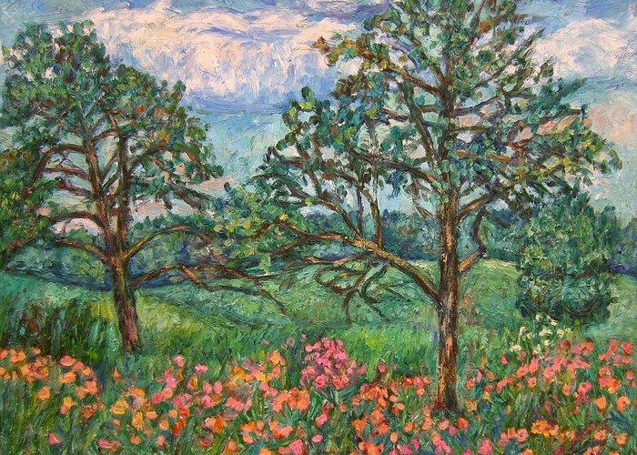 Landscape Greeting Card featuring the painting Kraft Avenue In Blacksburg by Kendall Kessler