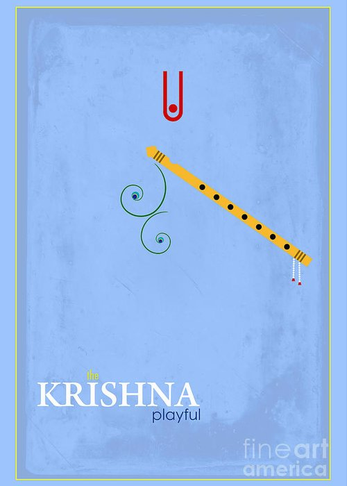 Krishna The Playful Greeting Card featuring the digital art Krishna The Playful by Tim Gainey