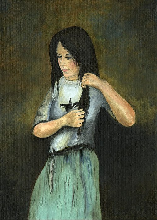 Oil On Canvas Original Art Painting Little Girl Young Lady Long Dark Hair Italian Woman Beautiful Orca Whale Lover Kristina Brendel Cecilia Brendel Daughter Rembrandt Inspired Greeting Card featuring the painting Kristina At 18 by Cecilia Brendel