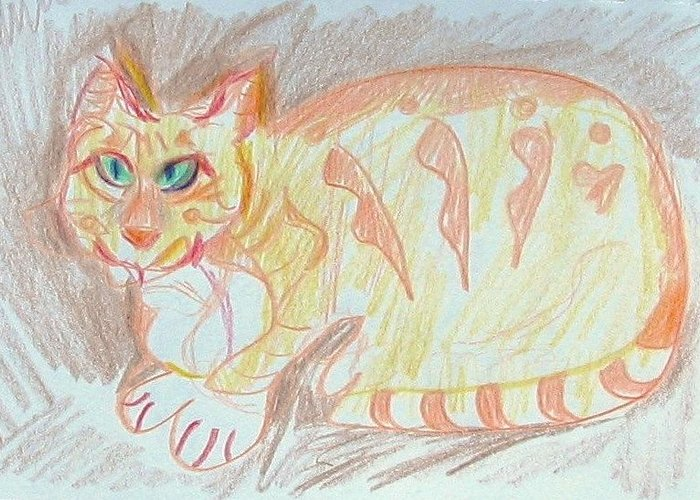 Cat Greeting Card featuring the painting Krystallos by Anita Dale Livaditis