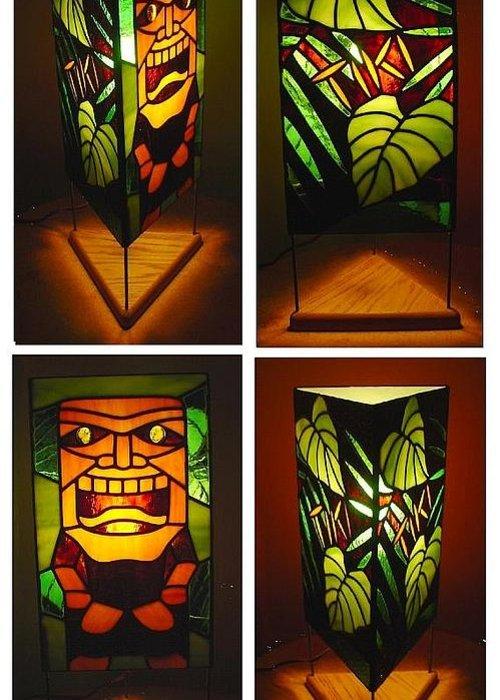 Hawaii Art Greeting Card Featuring The Glass Art Ku Tiki Hawaiian God Of  War Stained Glass