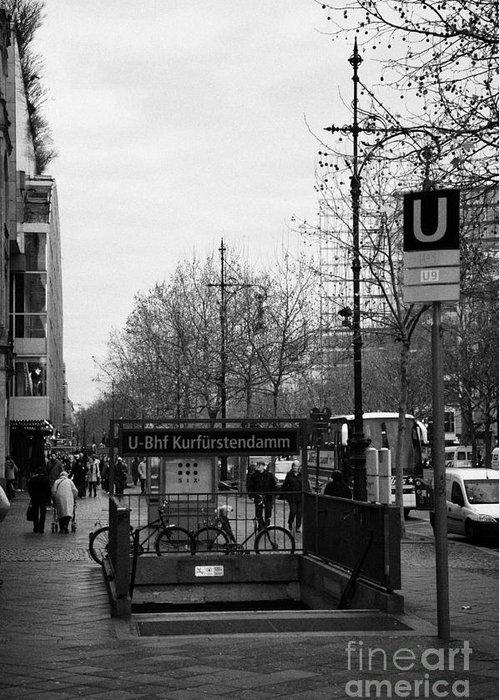 Berlin Greeting Card featuring the photograph Kufurstendamm U-bahn Station Entrance Berlin Germany by Joe Fox