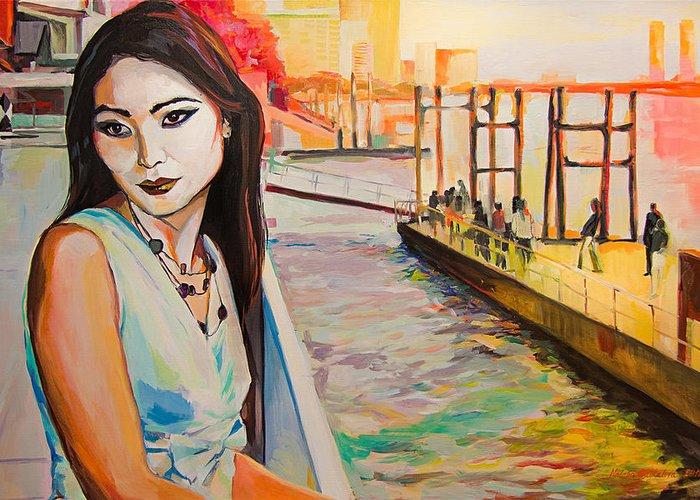 Boats Greeting Card featuring the painting Kuralai Is Waiting. Bangkok Sunset. by Natalia Baykalova