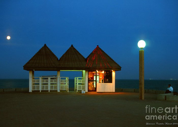 Pier Greeting Card featuring the photograph Kuwaiti Pier Snack Bar At Dusk by Lawrence Costales