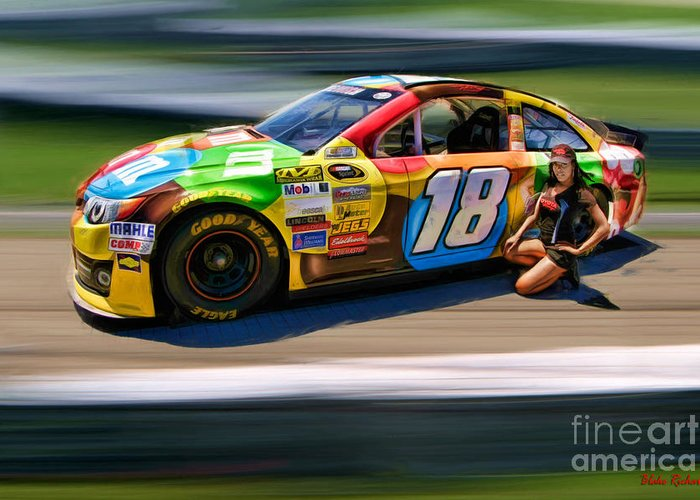 Kyle Busch Greeting Card featuring the photograph Kyle Busch And Miss San Francisco Myisha Collins by Blake Richards