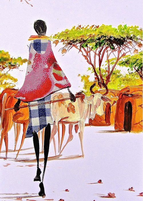 African Paintings Greeting Card featuring the painting L 105 by Albert Lizah