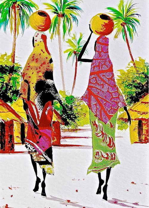 African Paintings Greeting Card featuring the painting L 124 by Albert Lizah