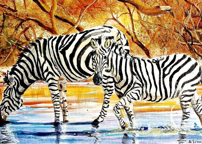African Paintings Greeting Card featuring the painting L 155 by Albert Lizah