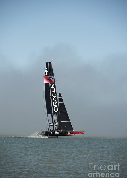 Team Oracle Greeting Card featuring the photograph L I F T O F F -- U S A  Wins by David Bearden
