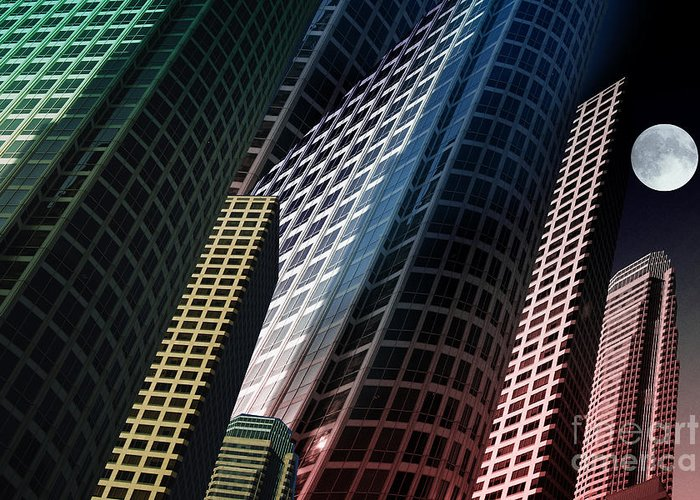 Buildings Greeting Card featuring the digital art L.a. by Angelika Drake