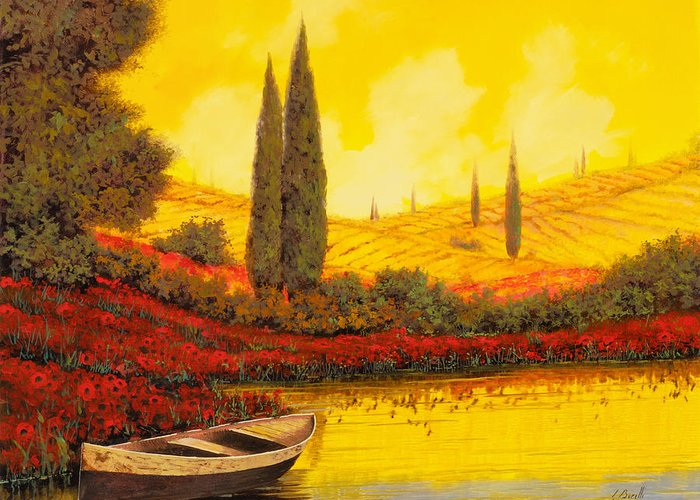 Sky Yellow Greeting Card featuring the painting La Barca Al Tramonto by Guido Borelli
