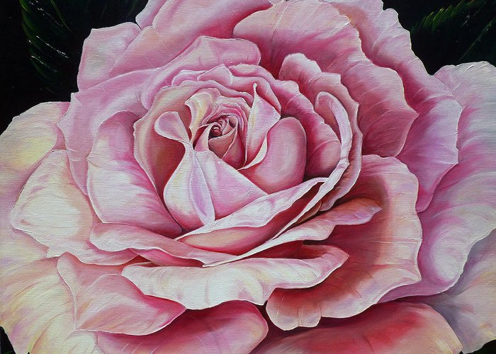 Rose Painting Pink Rose Painting  Floral Painting Flower Painting Botanical Painting Greeting Card Painting Greeting Card featuring the painting La Bella Rosa by Karin Dawn Kelshall- Best